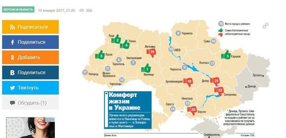 Херсон в рейтинге самых грязных городов Украины